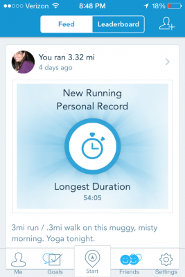Keeping track of our progress with RunKeeper